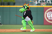 Charlotte Knights mascot Homer the Dragon is rides a broom dressed as Harry Potter between innings of the game against the Gwinnett Braves at BB&T BallPark on July 16, 2017 in Charlotte, North Carolina.  The Knights defeated the Braves 5-4.  (Brian Westerholt/Four Seam Images)