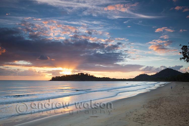 View along beach at dawn.  Kewarra Beach, Cairns, Queensland, Australia .