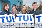 PROTEST: Member's of the TUI at I.T. Tralee protesting outside the clinic of Fianna Fa?il TD Tom Ellistrim on Saturday l-r Joan Cleary, Grannie Stack, Martha Farrell and Sean O'Mahony.