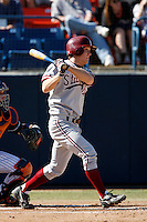 Austin Yount of the Stanford Cardinal during a game against the Cal State Fullerton Titans at Goodwin Field on February 4, 2007 in Fullerton, California. (Larry Goren/Four Seam Images)