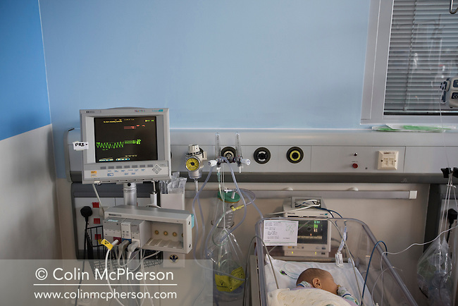 Three-day-old Finn Jones pictured at the Evelina London Children's Hospital neonatal intensive care unit in central London. Her son was born with a pre-diagnosed condition which required a life-saving, five-hour heart 'switch' operation to be carried out within the first two weeks of his life. The operation, which took place when Finn was 10 days old was successful, however, due to other near fatal complications the his recovery during the subsequent six weeks was slow and difficult.
