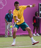 Bernard Tomic  - Australia..Tennis - OLympic Games -Olympic Tennis -  London 2012 -  Wimbledon - AELTC - The All England Club - London - Friday 29th June  2012. .© AMN Images, 30, Cleveland Street, London, W1T 4JD.Tel - +44 20 7907 6387.mfrey@advantagemedianet.com.www.amnimages.photoshelter.com.www.advantagemedianet.com.www.tennishead.net