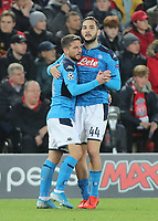 Liverpool v Napoli UEFA Champions League Dries Mertens of Napoli celebrates with Konstantinos Manolas after scoring the first goal against Liverpool during the UEFA Champions League match at Anfield, Liverpool. PUBLICATIONxNOTxINxUKxCHN Copyright: xMichaelxSedgwickx FIL-13908-0015<br /> Liverpool 27-11-2019 Anfield <br /> Football Uefa Champions League 2019/2020 <br /> Liverpool Vs Napoli <br /> Photo Imago/Insidefoto <br /> ITALY ONLY