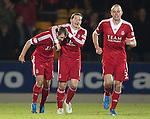 St Johnstone v Aberdeen.....07.12.13    SPFL<br /> Goal scorers Peter Pawlett and Niall McGinn celebrate<br /> Picture by Graeme Hart.<br /> Copyright Perthshire Picture Agency<br /> Tel: 01738 623350  Mobile: 07990 594431