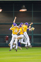 LSU Tigers celebrate following their win during the Houston College Classic against the Nebraska Cornhuskers on March 8, 2015 at Minute Maid Park in Houston, Texas. LSU defeated Nebraska 4-2. (Andrew Woolley/Four Seam Images)