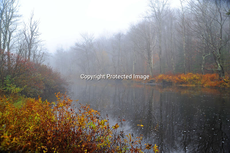 Ashuelot River in Early Morning Mist during Fall Season in Rural Marlow, New Hampshire USA
