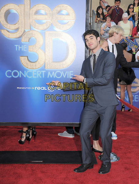 Darren Criss.attends The 20th Century Fox 'Glee 3D' Concert World Movie Premiere held at The Regency Village theatre in Westwood, California, USA, .August 6th 2011..full length suit tie  blue checked gingham shirt .CAP/RKE/DVS.©DVS/RockinExposures/Capital Pictures.