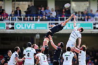 Charlie Ewels of Bath Rugby rises high to win lineout ball. European Rugby Challenge Cup Quarter Final, between Bath Rugby and CA Brive on April 1, 2017 at the Recreation Ground in Bath, England. Photo by: Patrick Khachfe / Onside Images