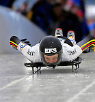 15 December 2006: Monique Riekewald, of Germany, starts her run at the FIBT Women's World Cup Skeleton Competition at the Olympic Sports Complex on Mount Van Hoevenburg  in Lake Placid, New York, USA.&amp;#xA;&amp;#xA;Mandatory Photo credit: Ed Wolfstein Photo<br />