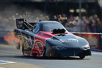 Jun. 15, 2012; Bristol, TN, USA: NHRA funny car driver Blake Alexander during qualifying for the Thunder Valley Nationals at Bristol Dragway. Mandatory Credit: Mark J. Rebilas-