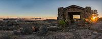 Davis Mountain State Park Pano at the overlook just at sunset. This old rock building was built as a place to rest up after a day of working the area and has a nice view over the desert and mountain landscape. This Texas landscape in the Davis Mountain just after sunset as the sky lights up with this colorful sky was a nice end to the day.