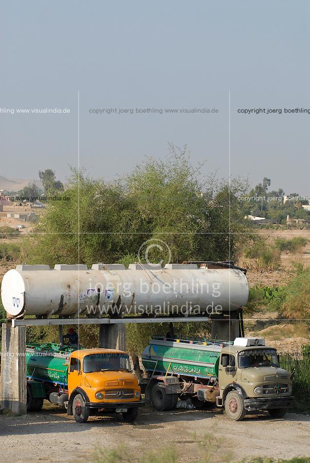 JORDANIEN Wassertank mit Trinkwasser vom Jordan Fluss und Tankwagen fuer Wasserverteilung / JORDAN water tank with water from Jordan river and tank trucks for water distribution
