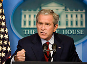 Washington, DC - July 12, 2007 -- United States President George W. Bush holds his first press conference in the newly renovated White House Briefing Room at the White House in Washington, D.C. on Thursday, July 12, 2007.  Bush addressed topics ranging from the war in Iraq to the administration's war on terrorism.<br /> Credit: Joshua Roberts - Pool via CNP