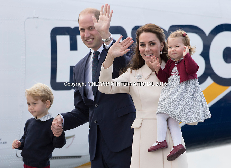 01.10.2016; Victoria, Canada: DUKE AND DUCHESS OF CAMBRIDGE, PRINCE GEORGE AND PRINCESS CHARLOTTE<br />departed from Victoria Harbour by float plane at the end of their tour of Canada.<br />Mandatory Photo Credit: &copy;Francis Dias/NEWSPIX INTERNATIONAL<br /><br />IMMEDIATE CONFIRMATION OF USAGE REQUIRED:<br />Newspix International, 31 Chinnery Hill, Bishop's Stortford, ENGLAND CM23 3PS<br />Tel:+441279 324672  ; Fax: +441279656877<br />Mobile:  07775681153<br />e-mail: info@newspixinternational.co.uk<br />Usage Implies Acceptance of OUr Terms &amp; Conditions<br />Please refer to usage terms. All Fees Payable To Newspix International