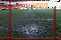 Sitting water on the pitch at Bloomfield Road, home of Blackpool FC<br /> <br /> Photographer Rich Linley/CameraSport<br /> <br /> The EFL Sky Bet League One - Blackpool v Barnsley - Saturday 22nd December 2018 - Bloomfield Road - Blackpool<br /> <br /> World Copyright &copy; 2018 CameraSport. All rights reserved. 43 Linden Ave. Countesthorpe. Leicester. England. LE8 5PG - Tel: +44 (0) 116 277 4147 - admin@camerasport.com - www.camerasport.com