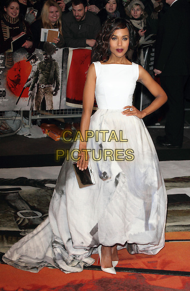 Kerry Washington.The UK Premiere of 'Django Unchained', Empire Leicester Square, London, England..January 10th 2013.full length white sleeveless dress gown hand on hip clutch bag grey gray pattern silver .CAP/ROS.©Steve Ross/Capital Pictures