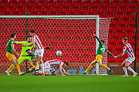 12th February 2020; Bet365 Stadium, Stoke, Staffordshire, England; English Championship Football, Stoke City versus Preston North End; Tom Barkhuizen of Preston North End scores a 75 minute goal to put Preston ahead 0-2