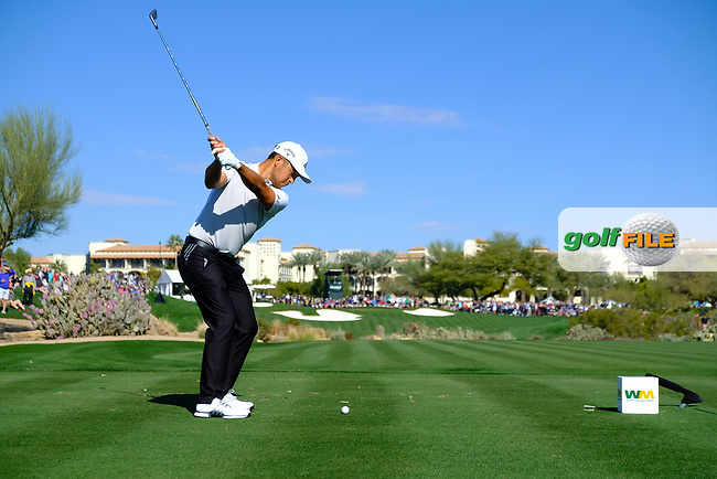 Xander Schauffele (USA) on the 4th tee during the 2nd round of the Waste Management Phoenix Open, TPC Scottsdale, Scottsdale, Arisona, USA. 01/02/2019.<br /> Picture Fran Caffrey / Golffile.ie<br /> <br /> All photo usage must carry mandatory copyright credit (© Golffile | Fran Caffrey)