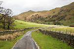 Narrow country road in Martindale valley, Ullswater, Lake District national park, Cumbria, England, UK