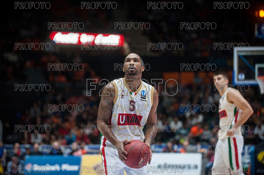 VALENCIA, SPAIN - NOVEMBER 3: Phillip Goss during EUROCUP match between Valencia Basket Club and CAI Zaragozaat Fonteta Stadium on November 3, 2015 in Valencia, Spain