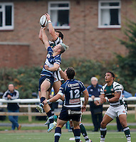 Ealing's Joe Munro contests the high ball with Bedford's Patrick Tabley during the Greene King IPA Championship match between Ealing Trailfinders and Bedford Blues at Castle Bar , West Ealing , England  on 29 October 2016. Photo by Carlton Myrie / PRiME Media