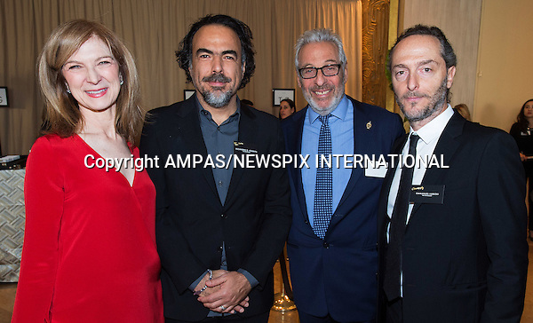 08.02.2016; Beverly Hills, California: 88TH OSCAR NOMINEES LUNCHEON <br /> Oscar Nominees attended the annual Nominees Luncheon that honours this year's contenders for the Oscars at the Beverly Hilton, Beverly Hills, Los Angeles<br /> Awards for outstanding film achievements of 2015 will be presented on Oscar Sunday, February 28, 2016, at the Dolby Theatre&reg; at Hollywood &amp; Highland Center&reg;, Los Angeles.<br /> Picture Shows: (L to R) Dawn Hudson, Oscar&reg; nominee Alejandro Gonzalez Inarritu, Hawk Koch  and Oscar&reg; nominee Emmanuel Lubezki <br /> Mandatory Photo Credit: &copy;AMPAS/NEWSPIX INTERNATIONAL<br /> <br /> IMMEDIATE CONFIRMATION OF USAGE REQUIRED:<br /> Newspix International, 31 Chinnery Hill, Bishop's Stortford, ENGLAND CM23 3PS<br /> Tel:+441279 324672  ; Fax: +441279656877<br /> Mobile:  0777568 1153<br /> e-mail: info@newspixinternational.co.uk<br /> All Fees Payabe To : Newspix International