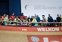 In the G-Sport 1000 meter sprint race 2 Belgian riders crashed spectacularly OVER the railing and into the crowd. The race was immediately interupted so the riders could get medical attention asap in their difficult to reach spot (high up in 't Kuipke) at the steepest part of the track.<br /> Kris Bosmans needed the most attention and needed to be carried out from the ordeal (while the crowd applauded as support).<br /> News came soon after to the Velodrome that he was gonna be ok.<br /> <br /> zesdaagse Gent 2019 - 2019 Ghent 6 (BEL)<br /> day 2<br /> <br /> ©kramon