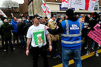 English Defence League (EDL) demonstration<br /> called in protest to the proposed building of a new mosque in Dudley.<br /> A supporter of the English Defence League wearing a 'Charlie Hebdo' t-shirt.