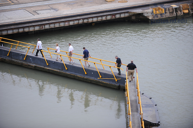 Latin American & Caribbean reunion, 2008: Panama Canal Museum tour. ND Group walks across the Miraflores Locks...Photo by Matt Cashore/University of Notre Dame
