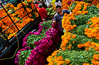 A Mexican flower market vendor piles up bunches of marigold flowers (Flor de muertos) for Day of the Dead celebrations in Mexico City, Mexico, 31 October 2016. Marigold flowers (Cempasúchil) are used to adorn graves and altars during the Day of the Dead (Día de Muertos). A syncretic religious holiday, combining the death veneration rituals of the ancient Aztec culture with the Catholic practice, is celebrated throughout all Mexico. Based on the belief that the souls of the departed may come back to this world on that day, people gather at the gravesites in cemeteries, praying, drinking and playing music, to joyfully remember friends or family members who have died and to support their souls on the spiritual journey.