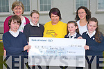 Pupils and teachers at Fybough National School in Castlemaine rasied funds for the Niall Mellon Township Trust  and Michelle O'Shea from Castlemaine who will work with the project again this year. .Back L-R Principal Angela Prendergast and Teacher Eileen Lovett. .Front L-R Daniel Hickey, Tara Pigott, Michelle O'Shea, Laura Benson and Marie Galvin.