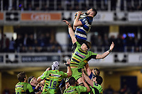 Elliott Stooke of Bath Rugby wins the ball at a lineout. Anglo-Welsh Cup Semi Final, between Bath Rugby and Northampton Saints on March 9, 2018 at the Recreation Ground in Bath, England. Photo by: Patrick Khachfe / Onside Images