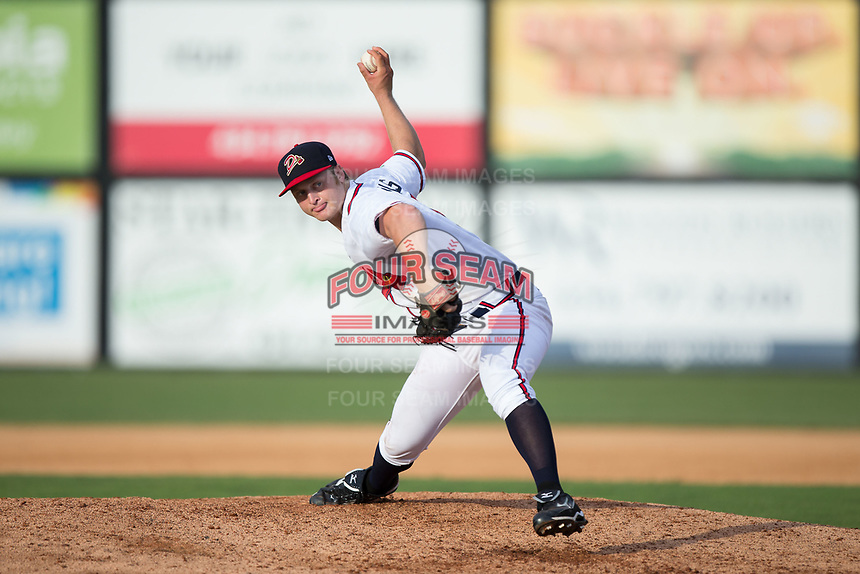 Danville Braves relief pitcher Cutter Dyals (15) in action against the Princeton Rays at American Legion Post 325 Field on June 25, 2017 in Danville, Virginia.  The Braves walked-off the Rays 7-6 in 11 innings.  (Brian Westerholt/Four Seam Images)