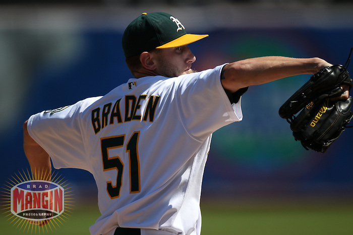 OAKLAND, CA - SEPTEMBER 12:  Dallas Braden #51 of the Oakland Athletics pitches against the Boston Red Sox during the game at the Oakland-Alameda County Coliseum on September 12, 2010 in Oakland, California. Photo by Brad Mangin