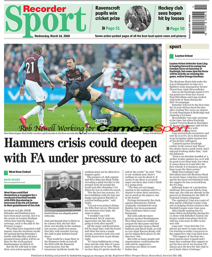 Newham Recorder - 14-Mar-2018 - 'West Ham skipper Mark Noble wrestles a pitch invader to the floor seconds after Burnley had taken the lead at the London Stadium' - Photo by Rob Newell (Camerasport)