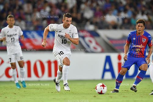 Lukas Podolski (Vissel), Yoshito Okubo (FC Tokyo),<br /> AUGUST 13, 2017 - Football / Soccer :<br /> 2017 J1 League match between F.C.Tokyo 1-0 Vissel Kobe at Ajinomoto Stadium in Tokyo, Japan. (Photo by AFLO)