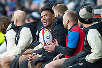 Twickenham, United Kingdom. 7th February, Manu TUILAGI, sitting on the bench after being substituted, during the England vs France, 2019 Guinness Six Nations Rugby Match   played at  the  RFU Stadium, Twickenham, England, <br /> &copy; PeterSPURRIER: Intersport Images