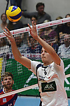 13.10.2018,  Lueneburg GER, VBL, SVG Lueneburg vs United Volleys Rhein-Main im Bild Einzelaktion Hochformat Adam Schriemer (Lueneburg #03) / Foto © nordphoto / Witke