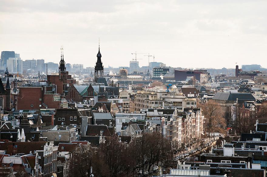 Nederland, Amsterdam, 14 maart 2013.Uitzicht over Amsterdam vanaf het Havengebouw.. .Foto(c): Michiel Wijnbergh