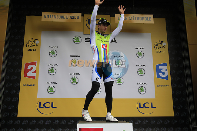 Peter Sagan (SVK) Cannondale also retains the young rider's White Jersey after Stage 4 of the 2014 Tour de France running 163.5km from Le Touquet to Lille. 8th July 2014.<br /> Picture: Eoin Clarke www.newsfile.ie
