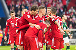 09.03.2019, Allianz Arena, Muenchen, GER, 1.FBL,  FC Bayern Muenchen vs. VfL Wolfsburg, DFL regulations prohibit any use of photographs as image sequences and/or quasi-video, im Bild Jubel nach dem Tor zum 5-0 durch Joshua Kimmich (FCB #32) mit Leon Goretzka (FCB #18) Franck Ribery (FCB #7) <br /> <br />  Foto &copy; nordphoto / Straubmeier
