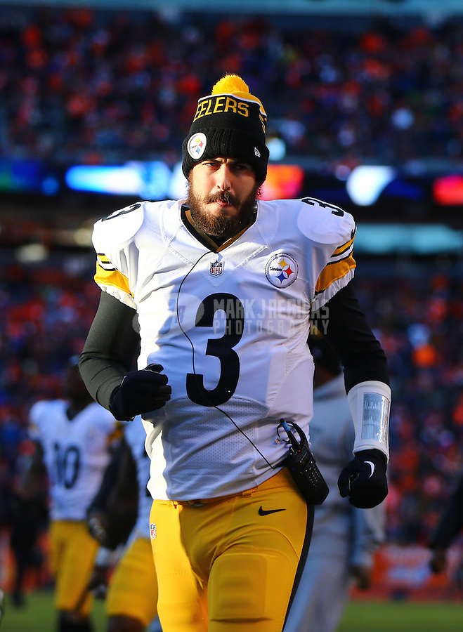 Jan 17, 2016; Denver, CO, USA; Pittsburgh Steelers quarterback Landry Jones (3) against the Denver Broncos during the AFC Divisional round playoff game at Sports Authority Field at Mile High. Mandatory Credit: Mark J. Rebilas-USA TODAY Sports