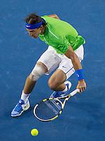RAFAEL NADAL (ESP) against NOVAK DJOKOVIC (SRB) in the FINAL of the Men's Singles. Novak Djokovic Beat Rafael Nadal 5-7 6-4 6-2 6-7 7-5..29/01/2012, 29th January 2012, 29.01.2012 - Day 14..The Australian Open, Melbourne Park, Melbourne,Victoria, Australia.@AMN IMAGES, Frey, Advantage Media Network, 30, Cleveland Street, London, W1T 4JD .Tel - +44 208 947 0100..email - mfrey@advantagemedianet.com..www.amnimages.photoshelter.com.