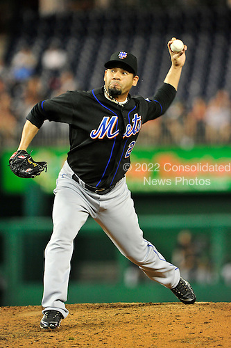 New York Mets pitcher Pedro Feliciano (25) works in the eighth inning against the Washington Nationals at Nationals Park in Washington, D.C. on Tuesday, September 7, 2010.  The Mets won the game 4 - 1..Credit: Ron Sachs / CNP.(RESTRICTION: NO New York or New Jersey Newspapers or newspapers within a 75 mile radius of New York City)