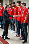 The reception of Prime Minister Mariano Rajoy to Spain national basketball team gold at EuroBasket 2015 at Moncloa Palace in Madrid, 21 September, 2015.<br /> Prime Minister Mariano Rajoy, Pau Gasol and Felipe Reyes.<br /> (ALTERPHOTOS/BorjaB.Hojas)