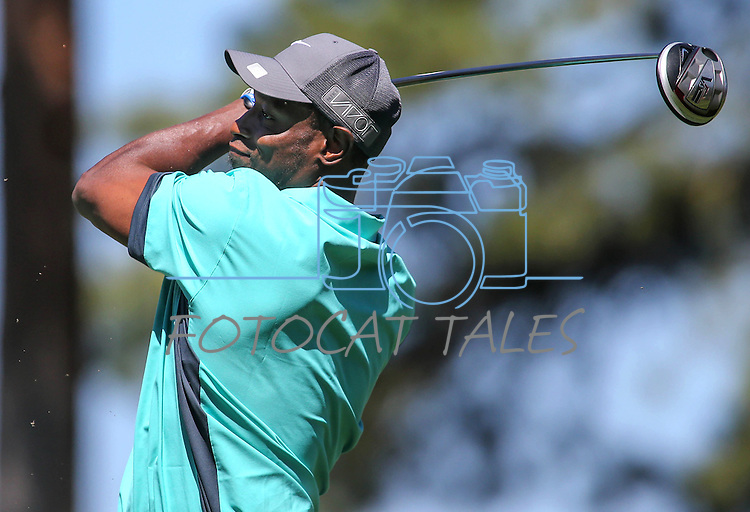 Former MLB player Kenny Lofton plays in an American Century Championship practice round at Edgewood Tahoe Golf Course in Stateline, Nev., on Wednesday, July 15, 2015. <br /> Photo by Cathleen Allison