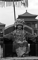 A girl is dressed up in traditional costume of a Chinese empress in the Forbidden City, Beijing, China.  The single child each of whom has the attention of parents and 4 grandparents are often referred to as &quot;Little Emperors&quot;  <br /> 18 Dec 2002<br /> <br /> photo by Richard Jones / Sinopix