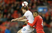 TORONTO, ON - OCTOBER 15: Josh Sargent #19 of the United States heads a ball during a game between Canada and USMNT at BMO Field on October 15, 2019 in Toronto, Canada.