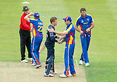 ICC World T20 Qualifier (Warm up match) - Scotland V Namibia at Grange CC, Edinburgh - Scotland's Richie Berrington is congratulated for his 61 knock after his side claimed victory by 6 wickets — credit @ICC/Donald MacLeod - 06.7.15 - 07702 319 738 -clanmacleod@btinternet.com - www.donald-macleod.com