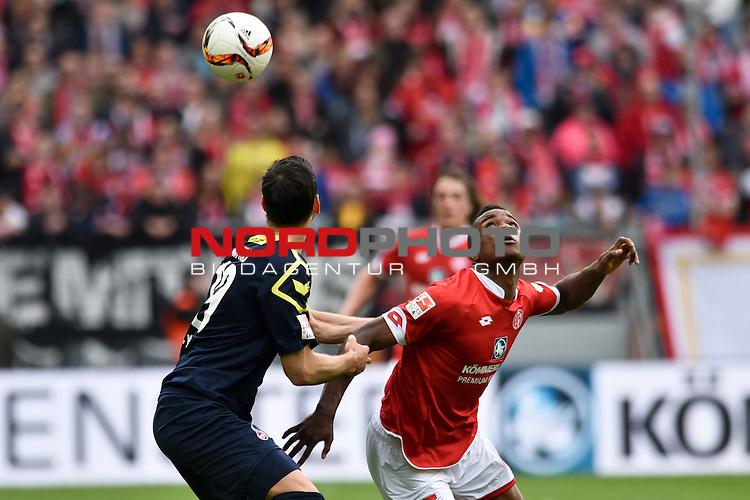 17.04.2016, Coface-Arena, Mainz, GER, 1. FBL, 1. FSV Mainz 05 vs. 1. FC Koeln, im Bild: Jhon Cordoba (#15, FSV Mainz) gegen Mergim Mavraj (#19, 1. FC Koeln)<br /> <br /> Foto &copy; nordphoto / Fabisch